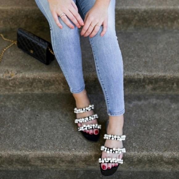 Zara blogger favorite pearl strap sandal slide